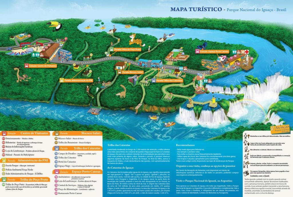 Mapa do Parque Nacional das Cataratas do Iguaçu para traçar o roteiro