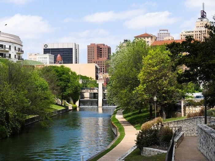 A Riverwalk em San Antonio, Texas.