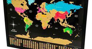 Um mapa de raspar é ótimo presente para quem gosta de viajar